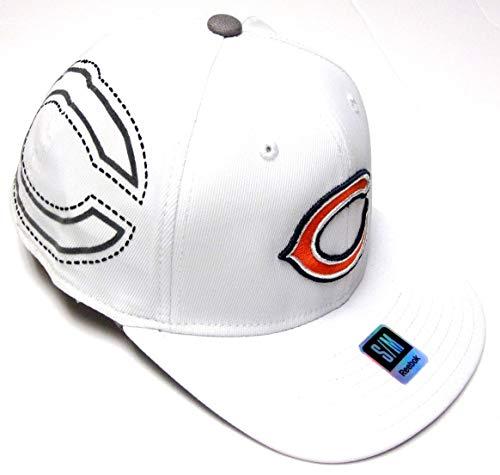 Reebok Chicago Bears NFL White Flat Brim Pro Shape Hat Cap Adult Men's Flex Fit S/M