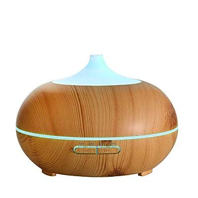 yanQxIzbiu Essential Oil Diffuser Mini LED Light Round Home Aroma Essential Oil Diffuser Purifier Humidifier Gift - EU Plug Brown 150ML for Bedroom Living Room Study Yoga Spa