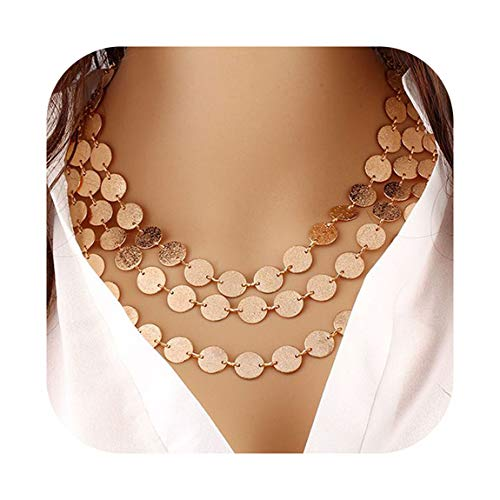 Hanloud Multilayer Bib Coins Statement Chunky Choker Chain Necklace Costume Jewelry
