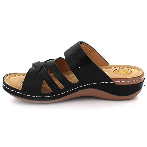 Ladies Toe Size Ladies Summer Light Comfort Every Put Shoes Day Heel Sandals Black Open Wedge Casual on rqw5EZ1r4x