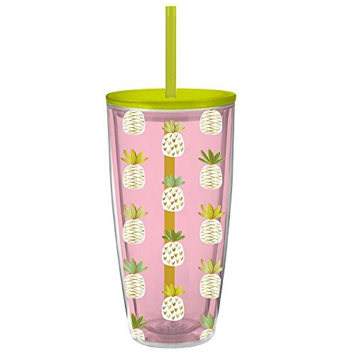 Slant Collections Women's Pineapple Grayson Tumbler, Pink, One Size