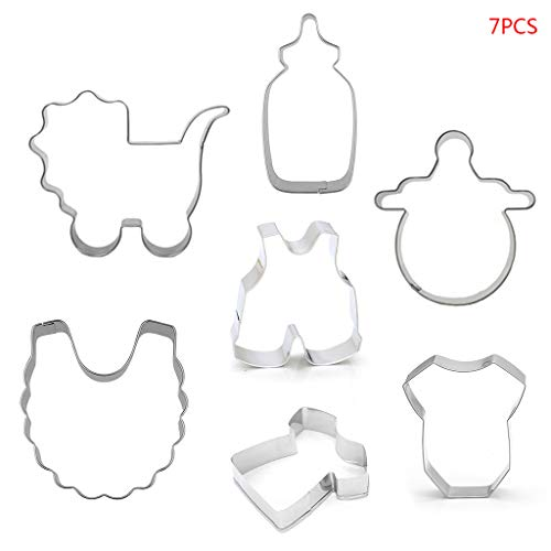 Danyerst 7Pcs/Set Stainless Steel Cookie Cutter,Baby Stroller Feeding Bottle Clothes Bib Shape, DIY Biscuit Mold, Baking Decorating Tools