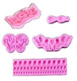 Baroque Style Curlicues Scroll Lace Fondant Silicone Mold for Sugarcraft, Cake Border Decoration, Cupcake Topper, Jewelry, Polymer Clay, Crafting Projects(Pack of 5)