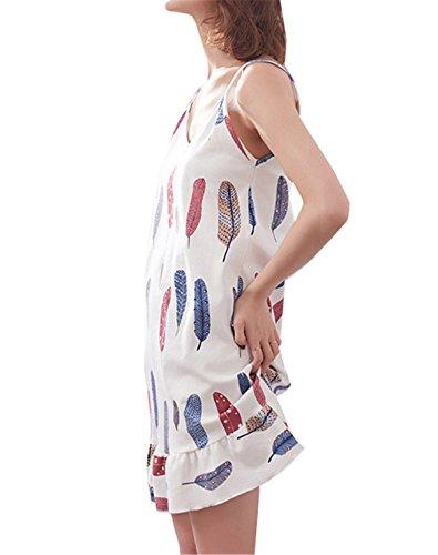 Casual Leaf Maniche Vestito Motivi Donna Senza Nuovo Estate Pigiami clothing Casa Pigiama Floreali COCO zOfBqwPHXW