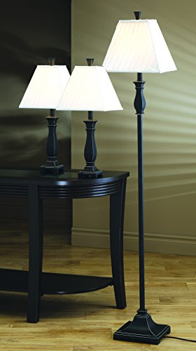 Coaster Home Furnishings 901145 Traditional Traditional Lamp Set, Black, 3-Piece by Coaster Home Furnishings