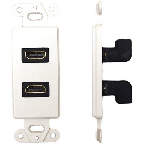 Datacomm Electronics 20-4502-Wh D'Cor Wall Plate Insert With 90° Dual Hdmi ()