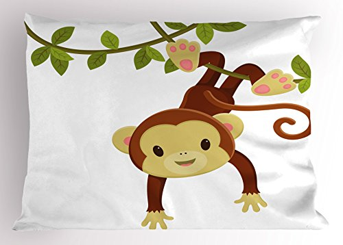 Ambesonne Nursery Pillow Sham, Cute Cartoon Monkey Hanging on Liana Playful Safari Character Cartoon Mascot, Decorative Standard Queen Size Printed Pillowcase, 30 X 20 inches, Brown Green Pink by Ambesonne
