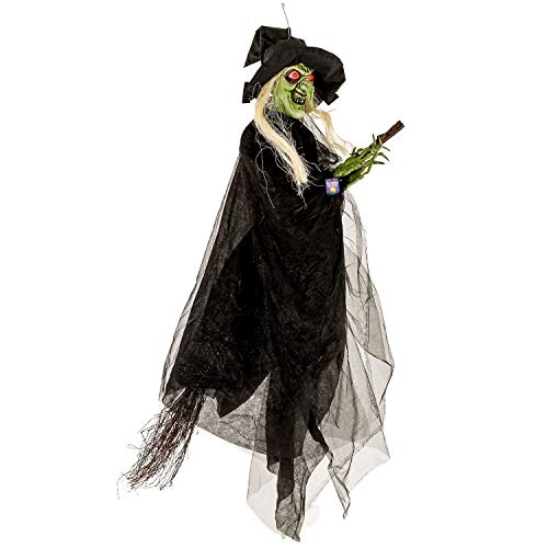 Halloween Haunters Animated Hanging 6 Foot Scary Spinning Flying Wicked Witch with Broomstick, Cackle Laughs, Red LED Eyes Prop Decoration - Rotating Cackling, Sound & Touch Activated - Haunted House