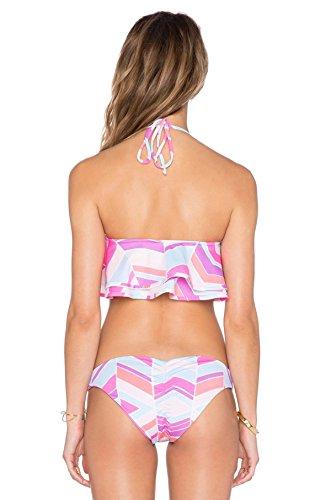 LYJBIK El Nuevo Mujeres Que Cuelgan Del Cuello Tipo Halter Impresión Bikinis Traje De Baño Partido A