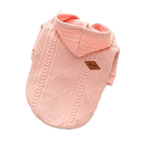 Dog Sweatshirt Coat Jacket Vest for Spring Autumn Fall Cold Weather,Hooded Woollen Sweater Warm Dog Pet Cat clothes Apparel, Windproof Classic Hooded Puppy Clothes for Small Medium Dogs (S, Pink)