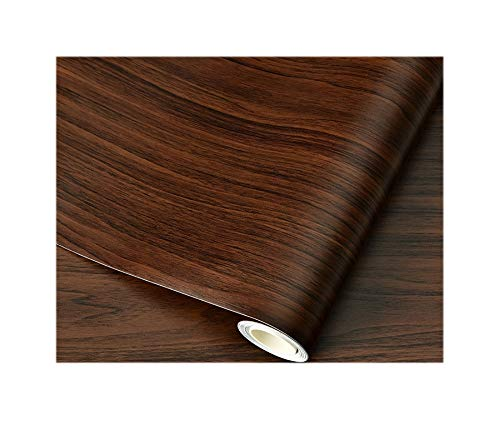 Contact Paper Thick Waterproof PVC Wood Grain Stickers self-Adhesive Wallpaper Clothes Cupboard Desktop Furniture Renovation Wallpaper Black Walnut 60x1000CM(23.6in X 394in)
