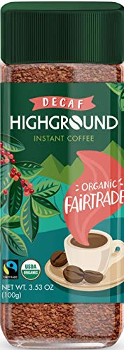 Highground Organic Decaffeinated Instant Coffee 2 Jars 3.53oz/100g Each by Highground