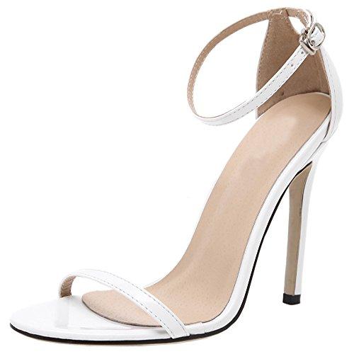 HooH Mujer Sandalias Stiletto Peep Toe Sexy Correa de tobillo Zapatos de tacón Blanco