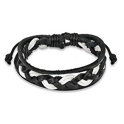 Bracelet en cuir noir et blanc avec des chaînes doubles tissé Centre