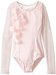 Capezio Little Girls\' Asymmetrical Long Sleeve Leotard, Pink, Small