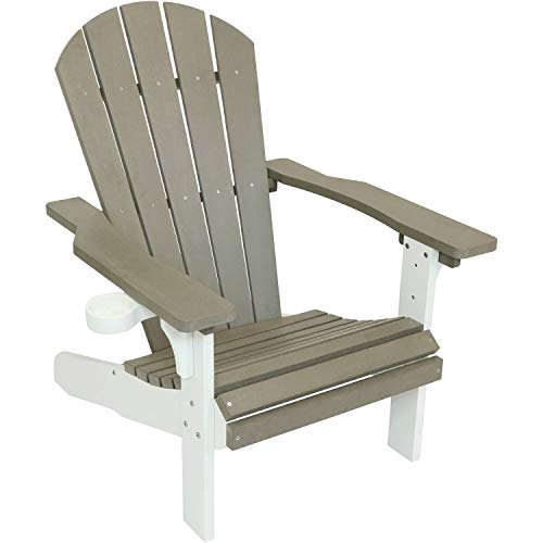 (Sunnydaze All-Weather Adirondack Patio Chair with Two-Tone Faux Wood Design, Gray/White)