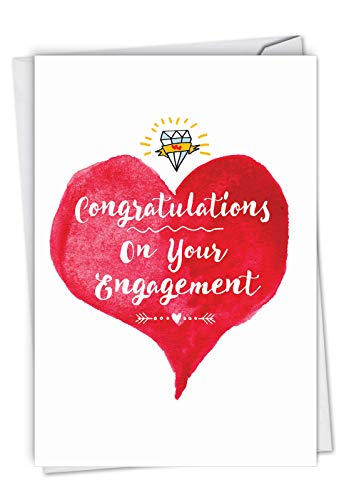 NobleWorks, About Time - Adult Engagement Card with Envelope - Congratulations Wedding Gift, Funny Bridal Wishes Notecard (Has Profanity) C6878ENG