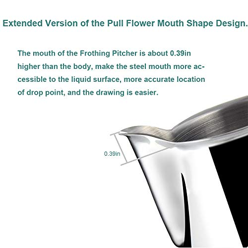 Frothing Pitcher Lengthen Mouth Handheld Milk Frothing Pitcher, 18/10 Stainless Steel 20oz/600ml Streamlined Milk Steaming Frothing Pitcher Body Suitable for Coffee, Latte Art And Frothing Milk Perfect for Espresso Machines by HENGRUI (Image #2)