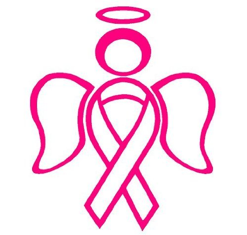 RIBBON ANGEL decal sticker support breast cancer, -