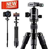Kithouse 66 Inch Camera Tripod For Camera Canon Nikon Sony - DSLR Travel Tripod SLR Monopod with Carry Bag, Lightweight(Elegant Black)