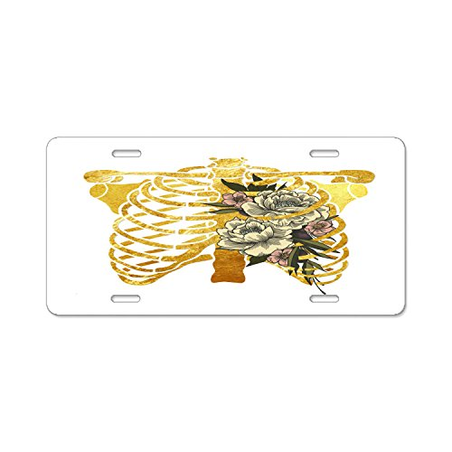 """KuyuqudGVg License Plate Ribcage Bouquet Custom License Plate Holder Durable Car Tag 12"""" X 6"""" Inches With 4 Holes"""