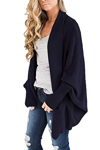 (HZSONNE Women's Casual Long Bat Wing Sleeve Open Cardigan Chunky Crochet Slouchy Wrap Sweater (Navy Blue, One)