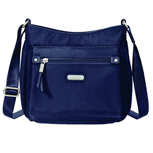 Baggallini Uptown Crossbody Handbag w RFID Wristlet Bundle w Travel Earphones (Navy)