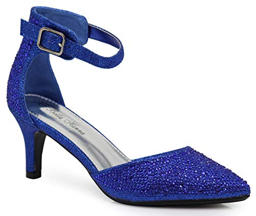Ballet High Shoes Heel - Enzo Romeo Jupiter Women's Pointy Toe High Mid Heel Sexy Ankle Strap Sandals Ballerina Dress Pump Ballet Wedding Patent Harlow Pump Shoes (8 B(M) US, Royal Blue (02))