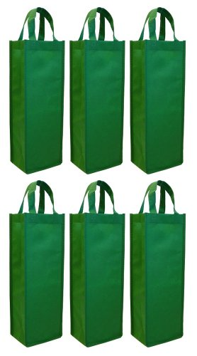 Single Bottle Wine Tote 6-Pack Set (Green)