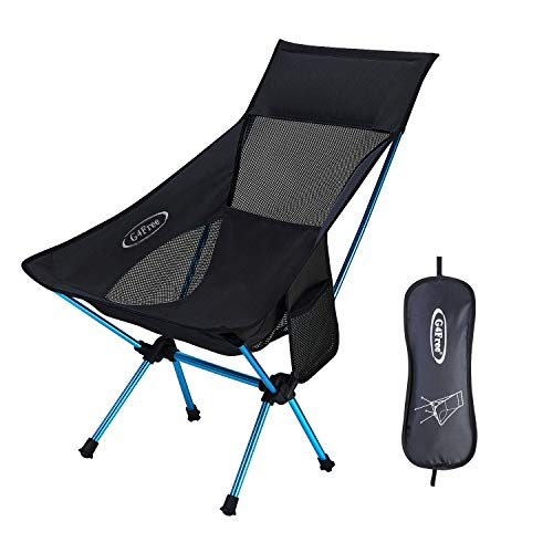 Ultralight Portable Camping Chairs Heavy Duty 265lbs Medium Size with Headrest, Backpacking Chair with Side Pouch for Outdoor Camp Picnic Beach Festival (Black)