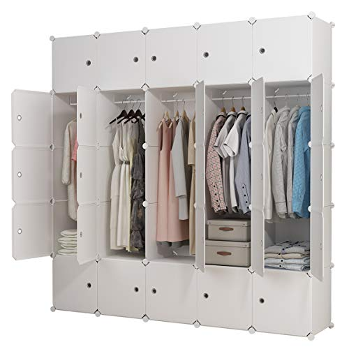 Easy Boot Ski Move 10 - KOUSI Portable Clothes Closet Clothing Storage Plastic Dresser Shelves Armoire Wardrobe Moving Boxes Rack Bins Shelf Closet for Bedroom Organizers and Storage, White, 10 Cubes+5 Hanging Sections
