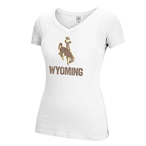 J America NCAA Wyoming Cowboys Adult Women Large Mascot Essential Tee, Large, White