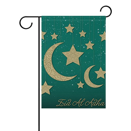 LEISISI Islam Eid At Adha Garden Flag Polyester Outdoor Flag Home Party 28x40(in) -