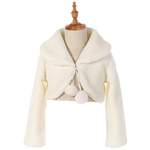 FAYBOX Cozy Faux Fur Flower Girl Bolero Shrug Accessories Princess Cape C Size M