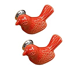 Set Of 4 Cute Drawer/Cabinet Pull Handles Ceramic Cabinet Knobs, Red Bird