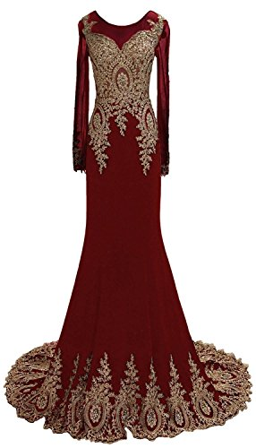 Rongstore Women's Long Sleeve Mermaid Appliques Beaded Evening Dress Burgundy US14