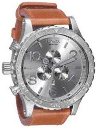 Nixon 51-30 Chrono Leather Watch Saddle, One Size [Watch] Nixon, Watch Central