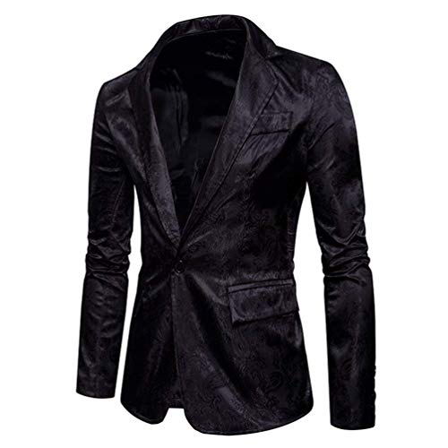 Fashion Jacket Abbigliamento Jacquard Mens Paisley Single Tuta Schwarz Saoye Elegant Coat Button FqwdFt6