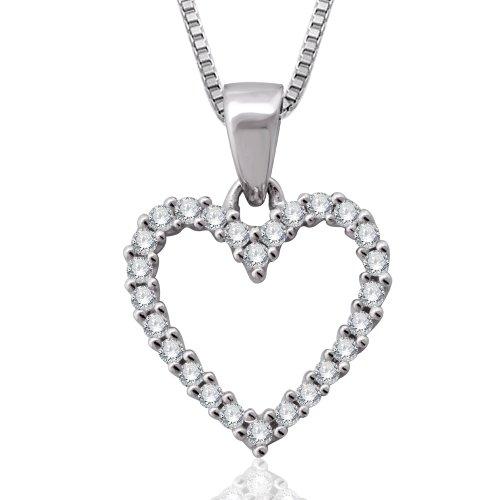 10k White Gold Heart Diamond Pendant Necklace (1/5 Carat)