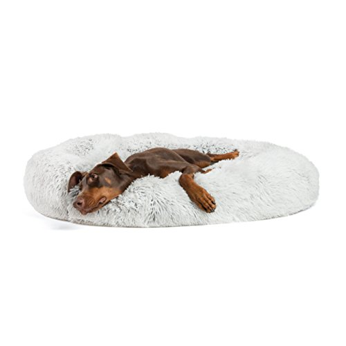 "Best Friends by Sheri Luxury Shag Fur Donut Cuddler 45"", Frost – Extra Large Round Donut Cat and Dog Cushion Bed, Orthopedic Relief, Self-Warming and Cozy for Improved Sleep – Prime, Machine Washable"