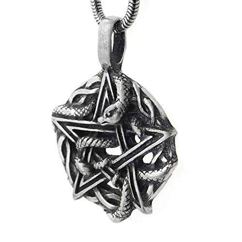 (Silver Insanity Serpent of Eden - Snake Entwined Pentacle Pendant Necklace, 20