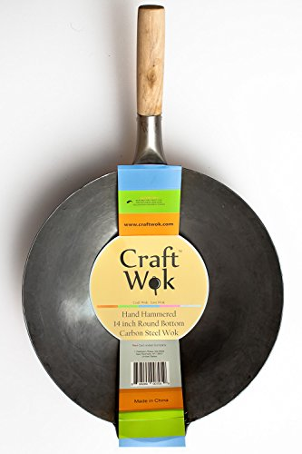 Craft Wok Traditional Hand Hammered Carbon Steel Pow Wok with Wooden and Steel Helper Handle (14 Inch, Round Bottom) / 731W88 by Craft Wok (Image #5)