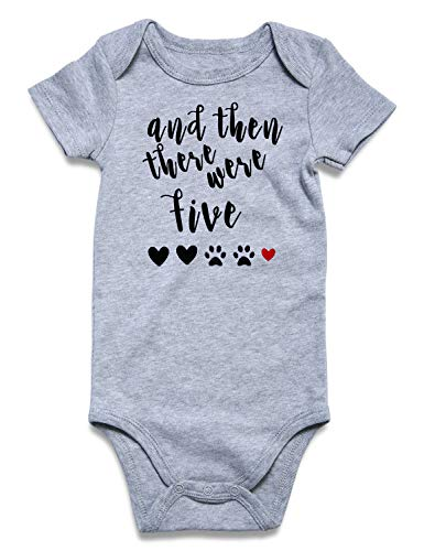 Pregnancy Baby Boy - Toddler Kid Babies Boys' Girls' Pregnancy Announcement Romper Fall Autumn Short Sleeve 100% Cotton Half Birthday Onesie and Then There were Five Paws Print Gray Bodysuit Layette Buttons 6-12 Months