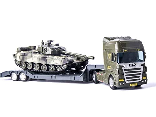 Delectation Military Vehicles and Army Tank Flatbed Truck with Tank Flatbed Semi-Trailer (Flatbed Truck with Tank) ()
