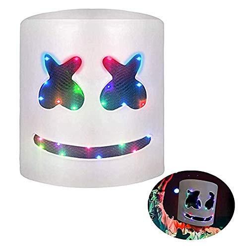 DJ Marshmello Mask, Top 10 DJs Marshmello Helmet Music Festival Marshmallow Head Mask Novelty Costume Party Rubber Latex -