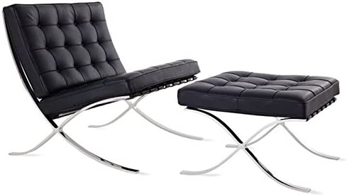Amazon.com: Debvil Barcelona Style Lounge Chair and Ottoman ...