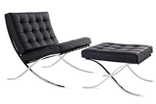 Mid Century Modern Classic Barcelona Style Replica Premium Lounge Chair & Ottoman With Real Black Leather and Stainless Steel Frame (1960 Style Outdoor Furniture)