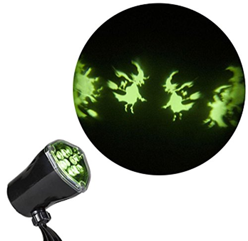 Halloween Projector Lights - Ghosts Witches Bats Spiders Skeletons Projection Chasing Spotlight (Witch) (Scary Halloween Light Show)