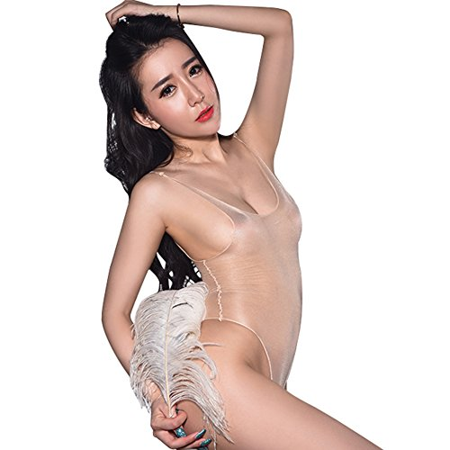 GO Love Women's Sexy Silky Sheer Tank Thong Bodysuit Lingerie Nude - Sheer Bodysuit