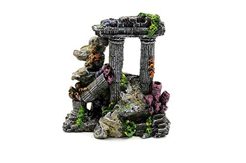 Resin Ornament Sunken Temple - Do4Pets Evergreen Simulation Coral Resin Roman Column-Rock Ruins Decor Accessories & Plants Ornament Supplies - Aquarium Decorations for Fish Tank Background